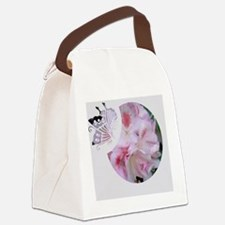 Pink Butterfly Canvas Lunch Bag