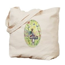 A Happy Place Flower Fairy and Ladybug Art Tote Ba