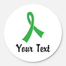 Personalized Green Ribbon Awarene Round Car Magnet