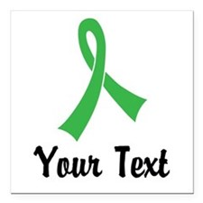 """Personalized Green Ribbo Square Car Magnet 3"""" x 3"""""""