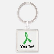 Personalized Green Ribbon Awarenes Square Keychain