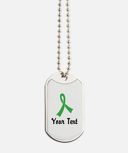 Personalized Green Ribbon Awareness Dog Tags