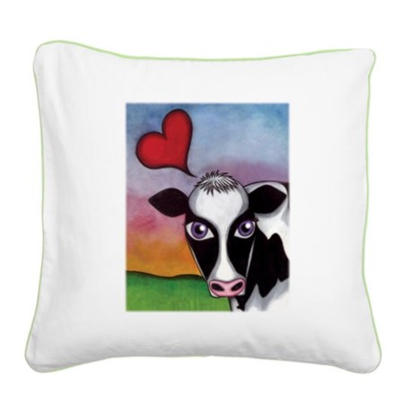 Happy Cow Square Canvas Pillow