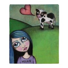 Vegan Girl Throw Blanket