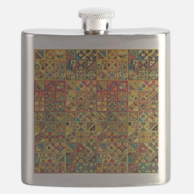 Colorful Tribal Aztec  Geometric  Seamless P Flask