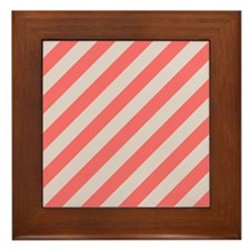 Coral Pink and Cream Stripes Framed Tile