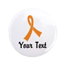 "Personalized Orange Ribbon A 3.5"" Button (10 pack)"
