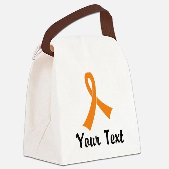 Personalized Orange Ribbon Awaren Canvas Lunch Bag