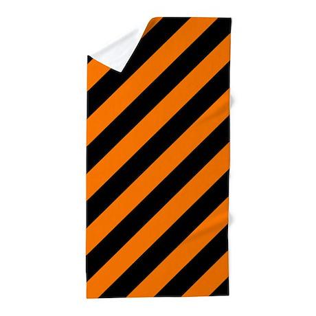 Orange And Black Stripes Beach Towel By Patternedshop