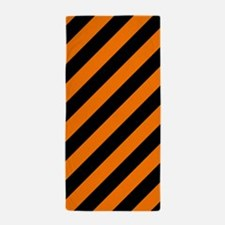Orange and Black Stripes Beach Towel