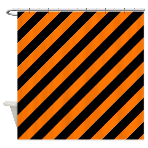 Orange And Black Stripes Shower Curtain By PatternedShop