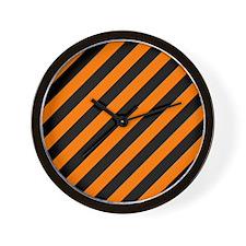 Orange and Black Stripes Wall Clock