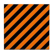 Orange and Black Stripes Tile Coaster