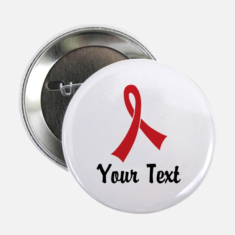 "Personalized Red Ribbon Awa 2.25"" Button (10 pack)"
