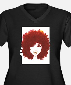 Funny Afro Women's Plus Size V-Neck Dark T-Shirt