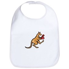 Kangaroo Kick Boxer Boxing Cartoon Bib