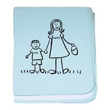 Mother and Son Drawing baby blanket