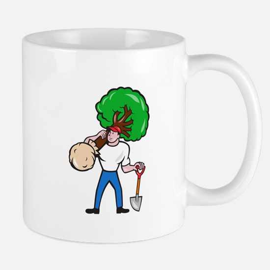 Gardener Arborist Carrying Tree Cartoon Mugs