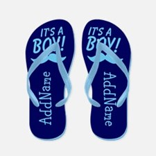 It's A Boy Blue Mustache Flip Flops