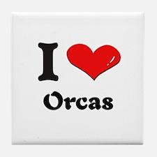 I love orcas  Tile Coaster