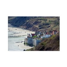 Sea wall at Robin Hoods Bay Rectangle Magnet