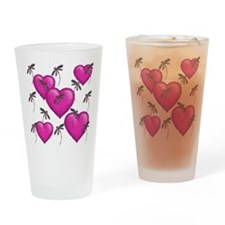Love Hearts and Dragonflies Pink Drinking Glass