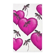 Love Hearts and Dragonflies Pink 3'x5' Area Rug