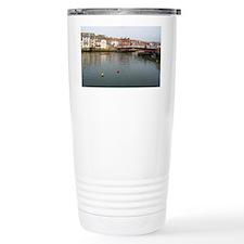 Lower harbour in Whitby Travel Mug