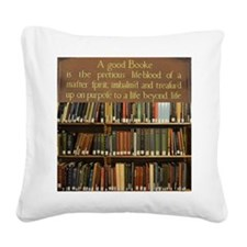 Bookshelves and Quotation Square Canvas Pillow