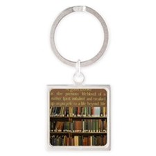 Bookshelves and Quotation Square Keychain