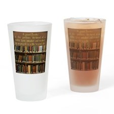 Bookshelves and Quotation Drinking Glass