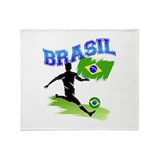 Soccer BRASIL Flag Throw Blanket