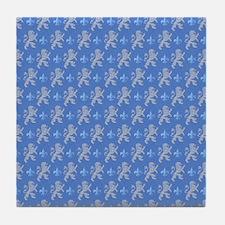 White Lions Fleurs On Blue Tile Coaster