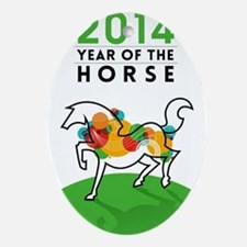 YEAR OF THE HORSE 2014 Oval Ornament