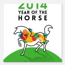 "YEAR OF THE HORSE 2014 Square Car Magnet 3"" x 3"""