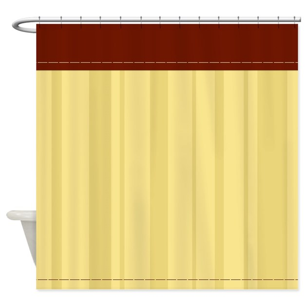 Red And Tan Vertical Stripes Shower Curtain By CurtainsForShowers