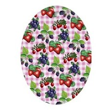 Berries and Gingham Ornament (Oval)