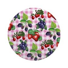 Berries and Gingham Ornament (Round)