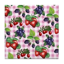 Berries and Gingham Tile Coaster