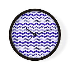 Navy Blue Chevron with a twist Wall Clock