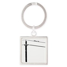 Birds On A Wire Square Keychain