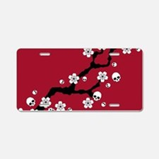 Gothic Cherry Blossoms Aluminum License Plate