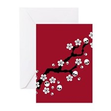 Gothic Cherry Blossoms Greeting Cards
