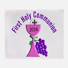 First Holy Communion Pink 2 Throw Blanket