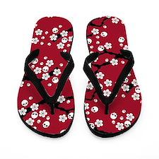 Gothic Cherry Blossoms Pattern Flip Flops