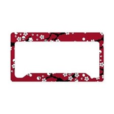Gothic Cherry Blossoms Pattern License Plate Holde