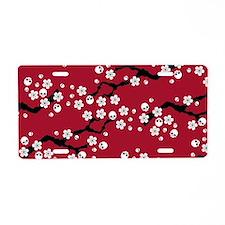 Gothic Cherry Blossoms Pattern Aluminum License Pl