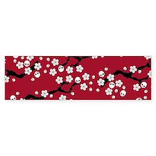 Gothic Cherry Blossoms Pattern Bumper Bumper Sticker