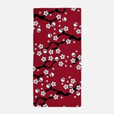 Gothic Cherry Blossoms Pattern Beach Towel