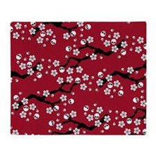 Gothic Cherry Blossoms Pattern Throw Blanket